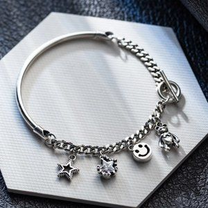 *925 Sterling Silver Toggle Chain Charm Bracelet